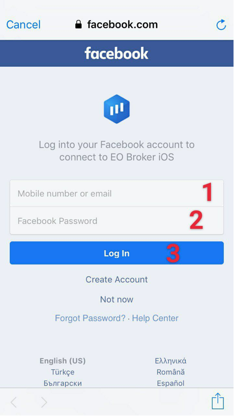 Facebook sign in page will open