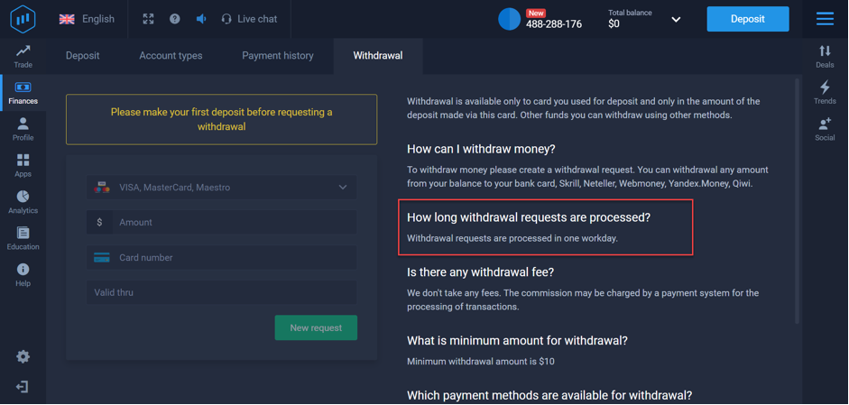 How long time take to receive withdrawal