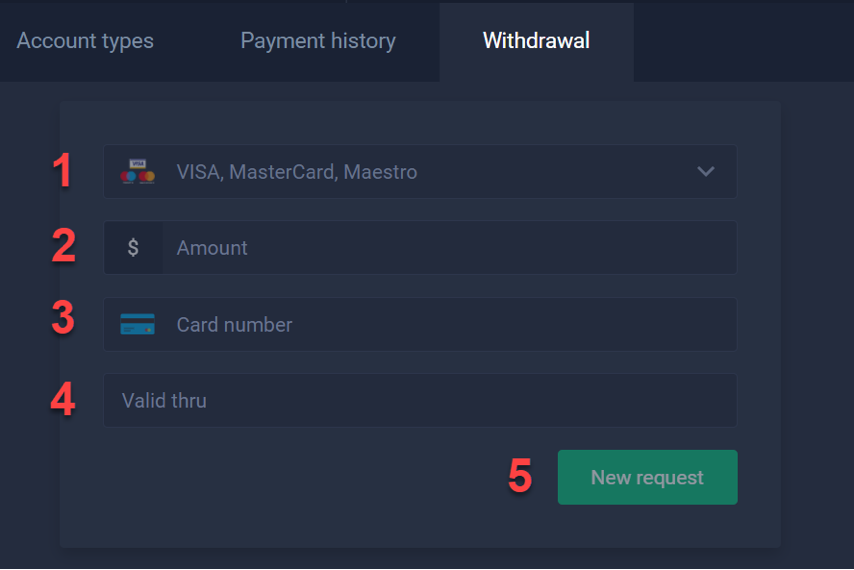 How to withdraw money from account?