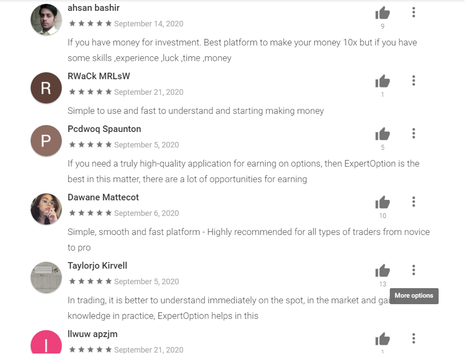Customers about ExpertOption broker