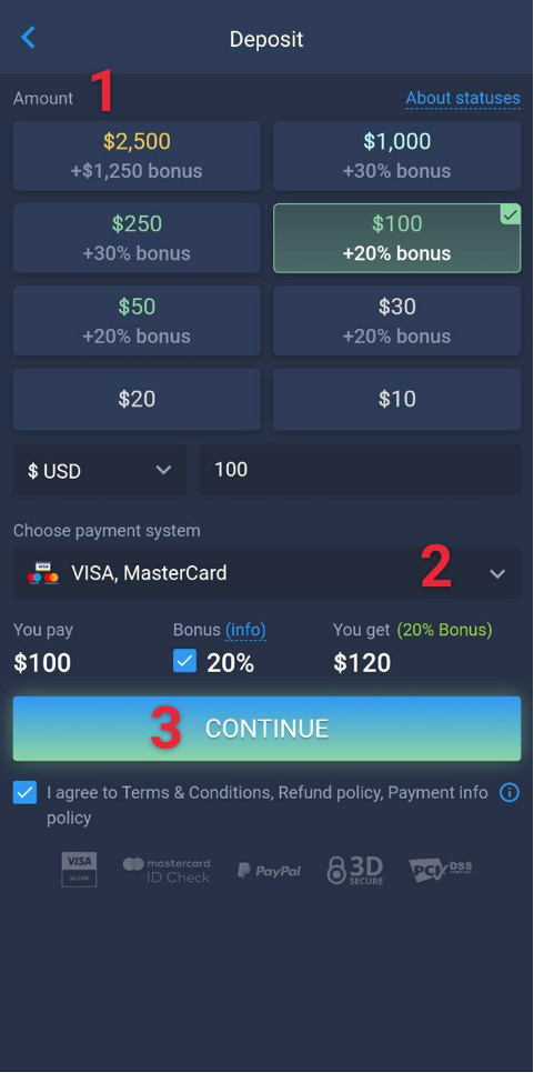 How to make a deposit on Android?