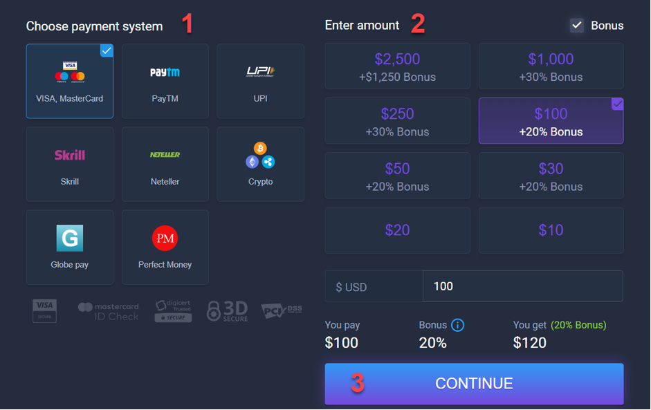 How to make deposit on WEB?