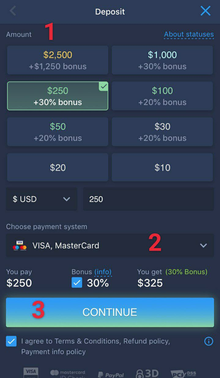 How to make deposit on iOS