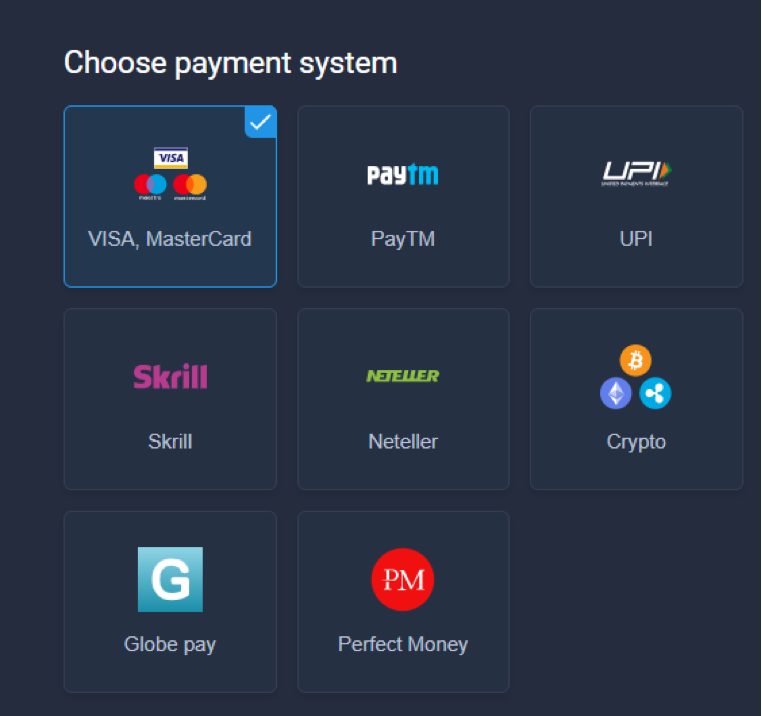 Payment methods on ExpertOption